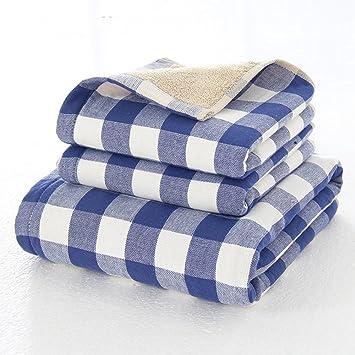 Juego de toallas de algodón a cuadros absorbentes de agua, resistentes, suaves, cómodas, de secado rápido, ...