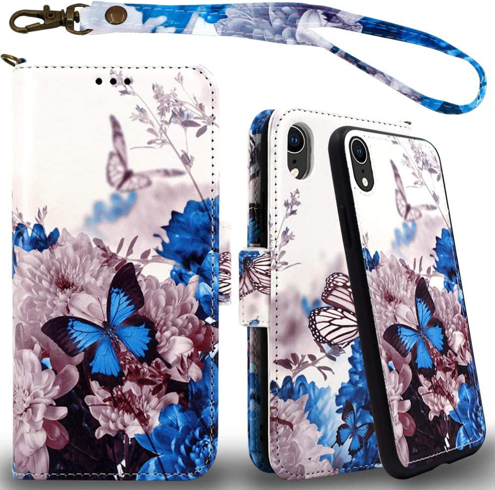 Mefon iPhone XR Detachable Leather Wallet Case, with Tempered Glass and Wrist Strap, Enhanced Magnetic Closure, Card Slot, Kickstand, Luxury Flip Folio Cases for Apple iPhone XR 6.1 (Butterfly 1)