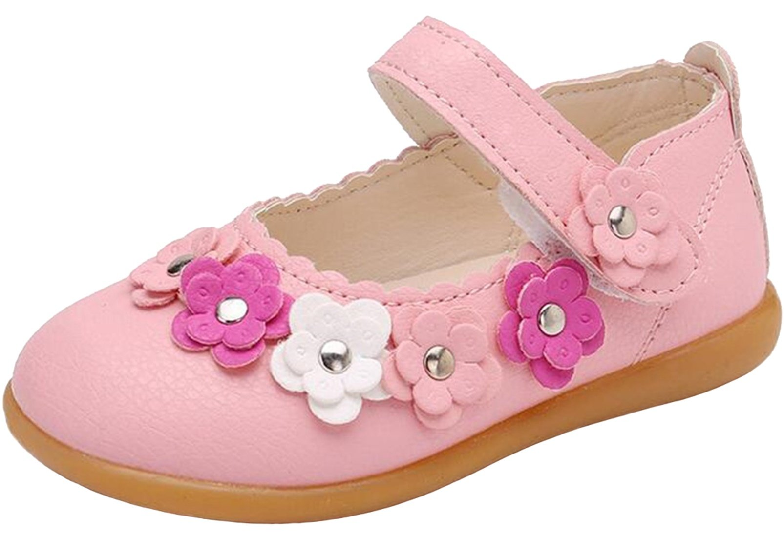 PPXID Girl's Princess Flat Mary Jane Flowers Dress Oxford Shoes(Toddler/Little Kid)-Pink 7 US Size