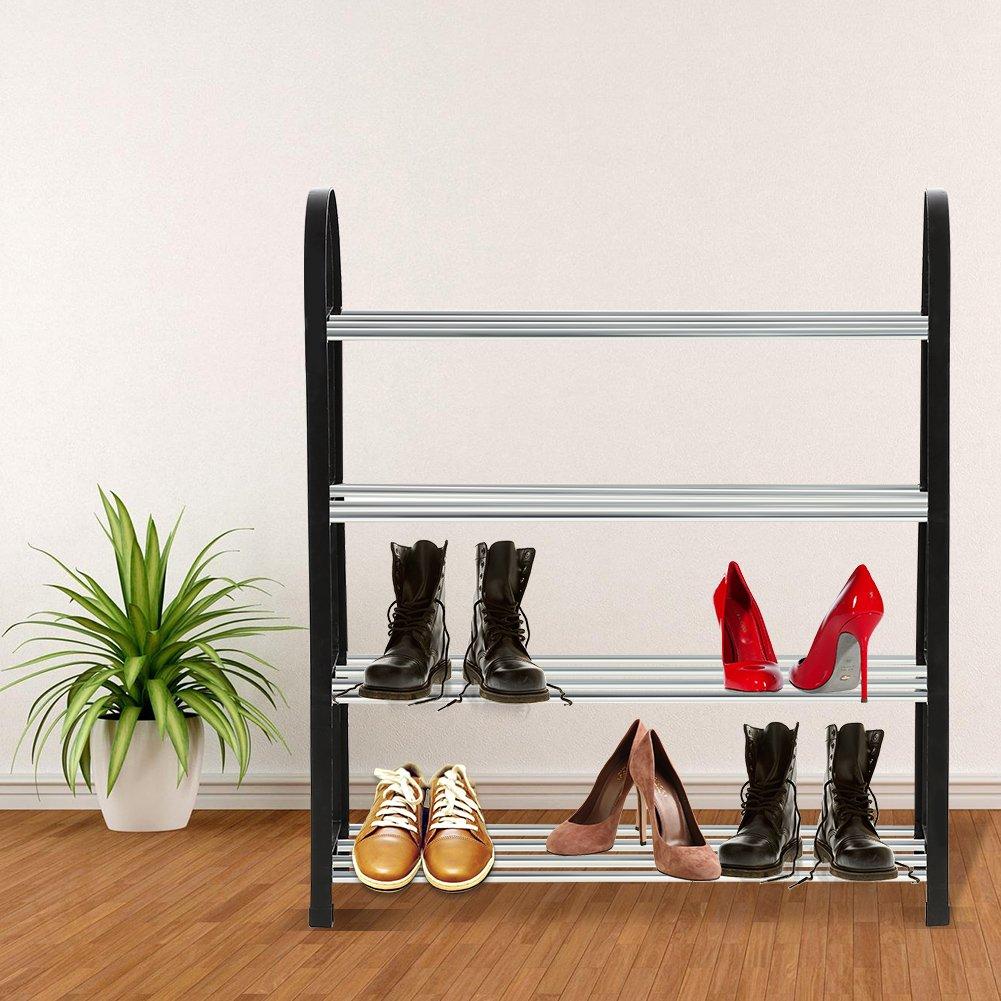 Shoe Rack Organizer Storage Bench Plastic /& Aluminum Metal Standing DIY Shoes Storage Shelf Home Organizer Organize Your Closet Cabinet Entryway No Tools Required 4 Tiers 50*19*58CM