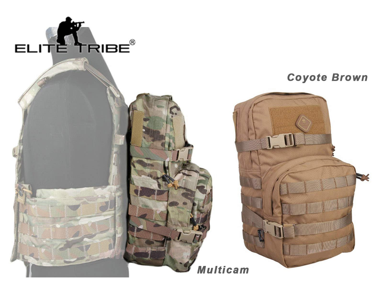 Elite Tribe Modular Pack 2.5L Hydration Pack Bag Molle Backpack for Military (Coyote Brown)