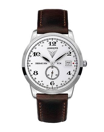 Junkers 63341 - Reloj analógico de cuarzo para hombre con correa de piel, color marrón: Amazon.es: Relojes