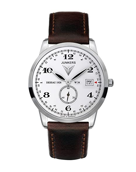 Junkers 63341 - Reloj analógico de cuarzo para hombre con correa de piel, color marrón