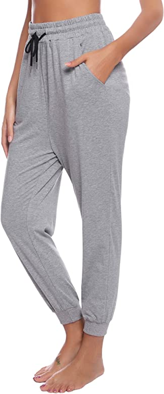 Aibrou Pantalones Chándal Raya Mujer Algodón Largos Pantalon para Deportivo Yoga Fitness Jogger Casual