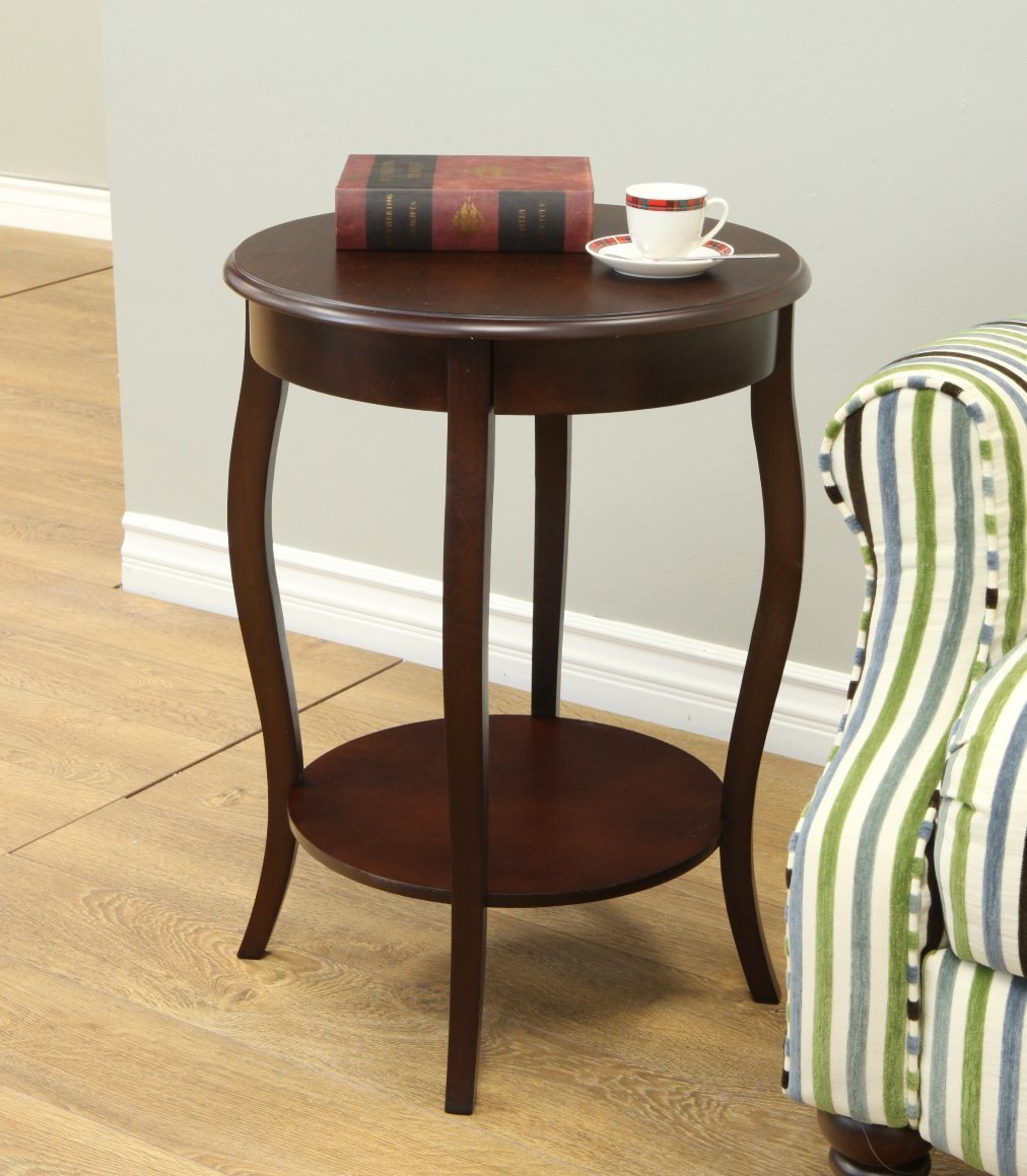 Amazon.com: Frenchi Home Furnishing Walnut Round Accent Table, 18 Inch:  Kitchen U0026 Dining
