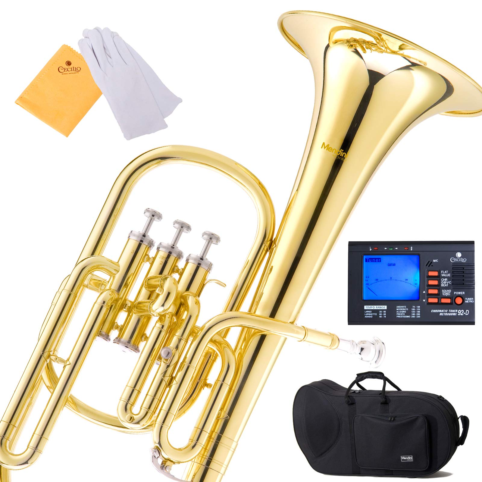 Mendini E Flat Alto Horn with Stainless Steel Pistons, Lacquered by Mendini by Cecilio