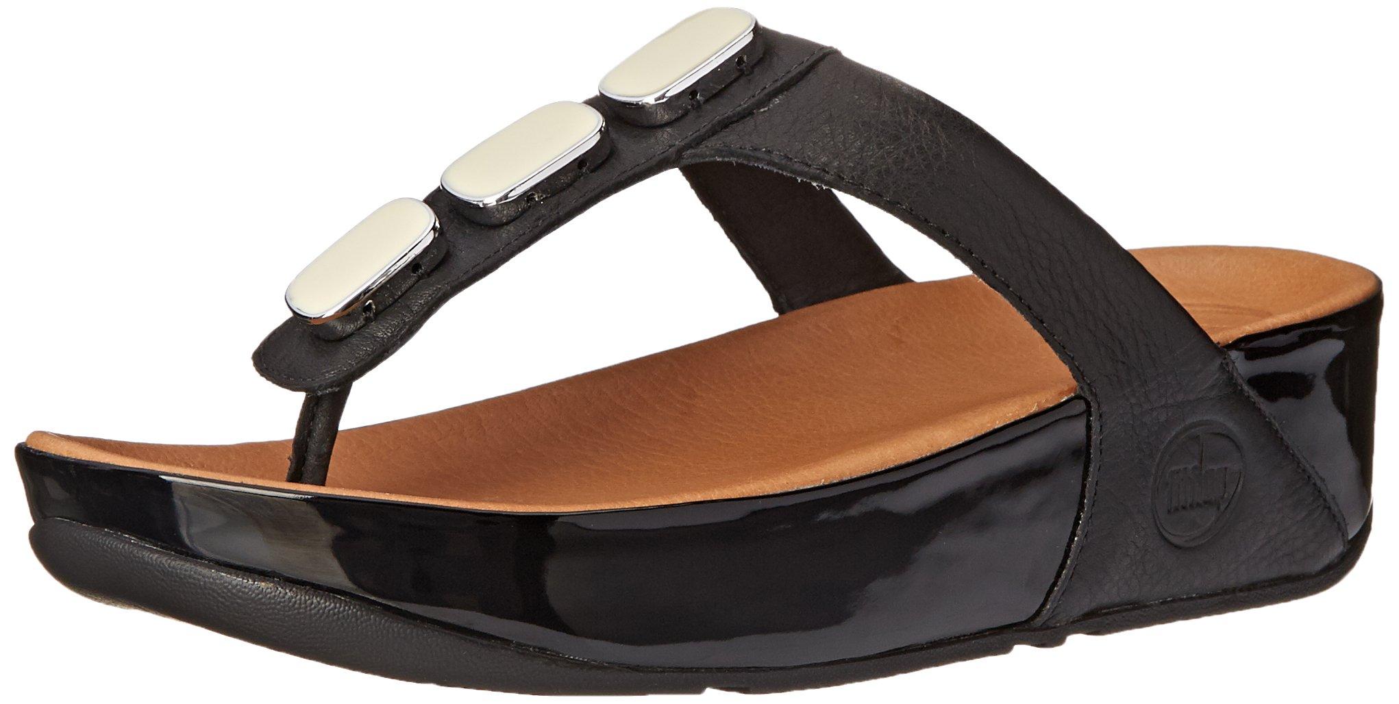 FitFlop Women's Pietra 11 Flip Flop, Black, 9 M US