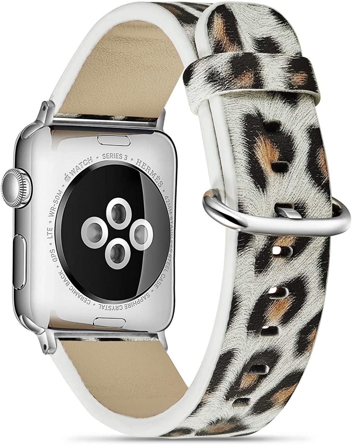 MeShow 44mm 42mm Soft Leather Leopard Style Watch Band Strap Wrist Band with Silver Metal Adapter Replacement for Apple Watch Series 5/4/3/2/1(Not for iWatch 40mm/38mm)