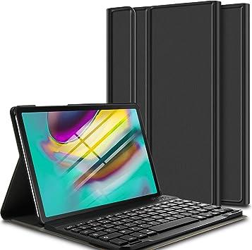 ELTD Funda Teclado Español Ñ para Samsung Galaxy Tab S5e 10.5 Pulgadas T720/T725, Protectora Cover Funda con Desmontable Wireless Teclado, (Negro)