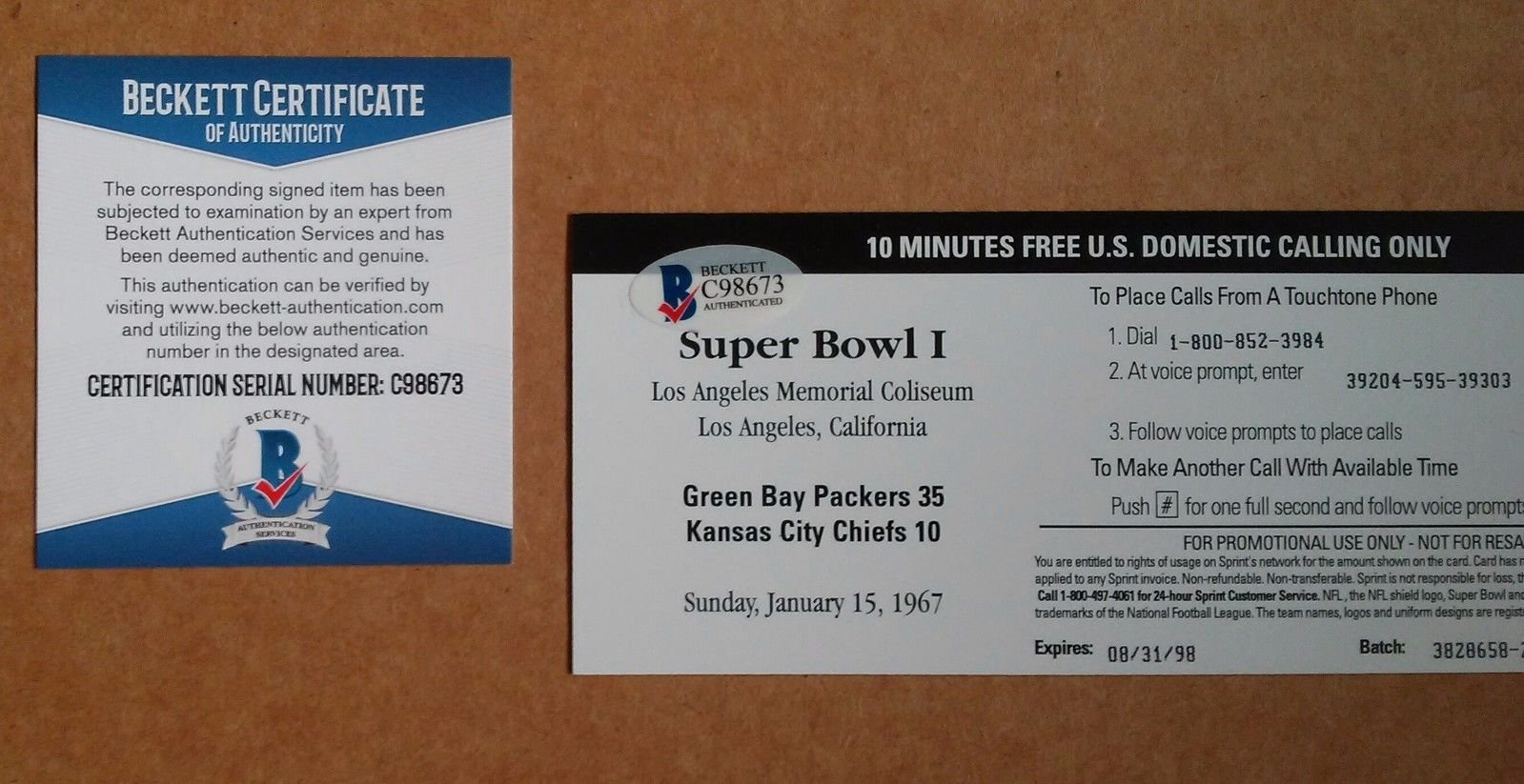 Bart Starr Signed Autograph Super Bowl I Replica Ticket Signed Autograph Beckett Certified Gb Packers
