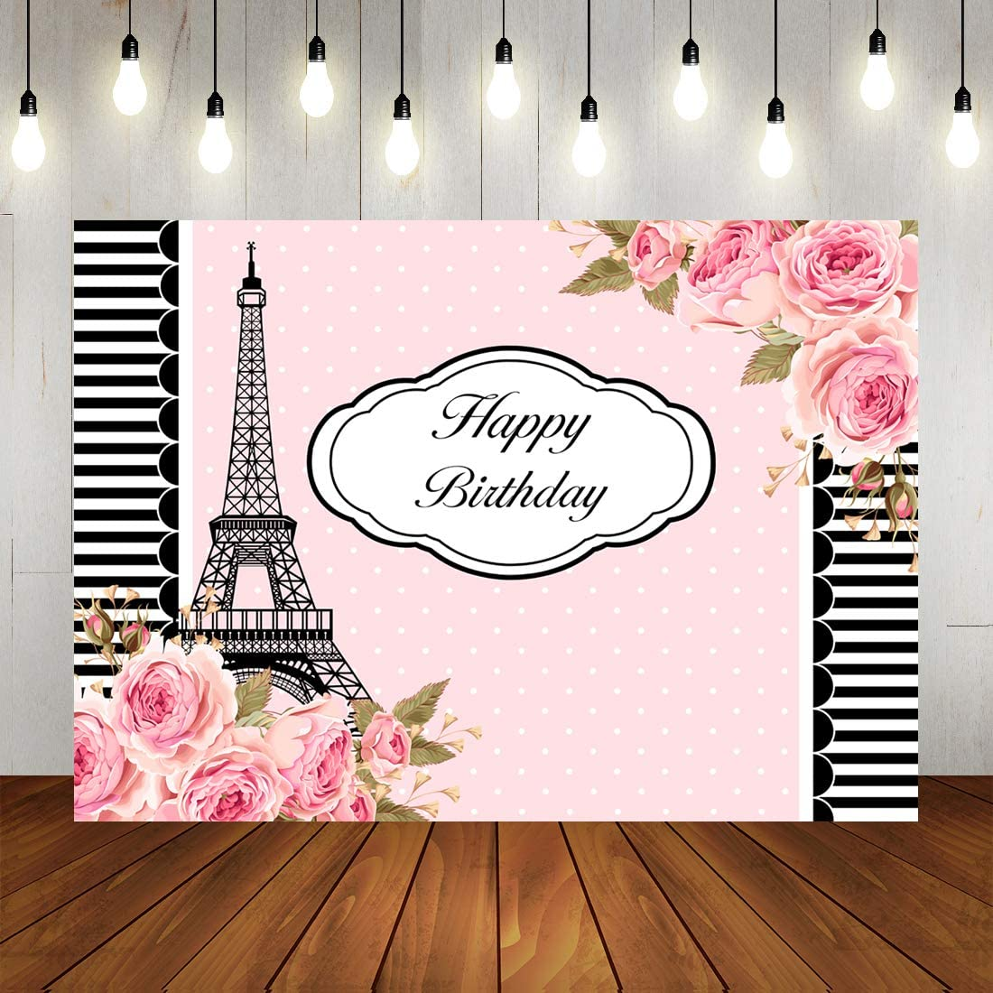 Pink Floral Happy Birthday Backdrop Paris Eiffel Tower Photography Background Black and White Stripes Decorations for Baby Girl's Birthday Party 7x5ft Any Age Women's Birthday Party Photo Booth Props