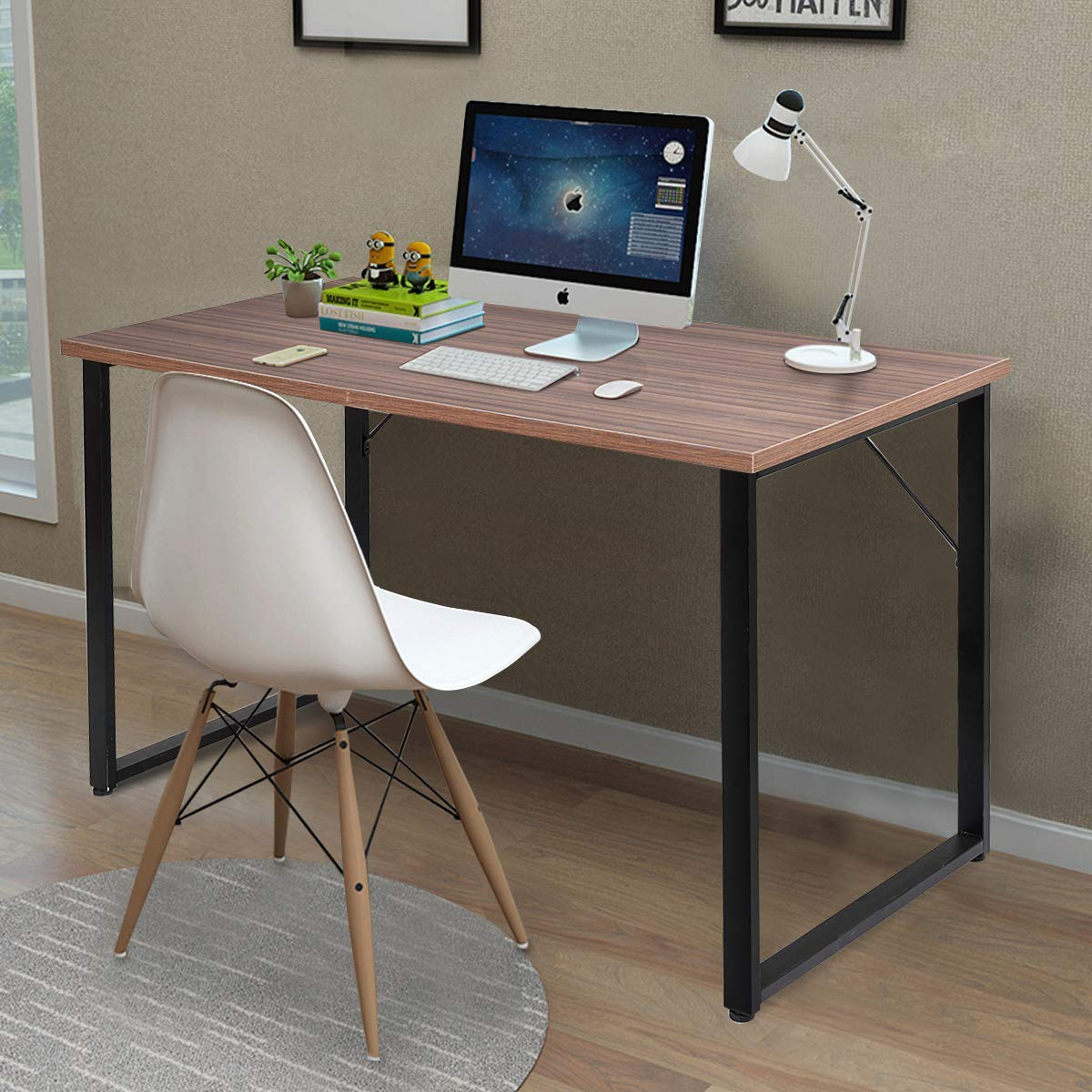 Tangkula writing table computer desk writing desk simple modern wood pc laptop table study table sturdy durable computer desk multi function workstation