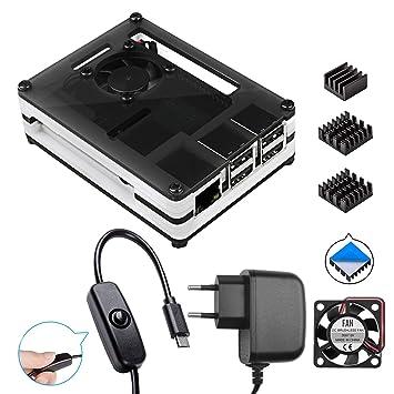 Smraza para Caja Raspberry Pi 3 b+ con Cargador 5V/3A con Conector ON/Off + 3 x Disipadores + Ventilador Compatible con Raspberry Pi 3 2 Model b+ b ...