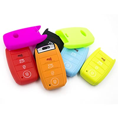 LIGHTKOREA 4 Button Silicone Smart Key Case Cover 1Pcs For Kia Soul Carnival Sedona Niro Sorento Sportage Rio Forte Optima Cerato Koup (Orange): Automotive
