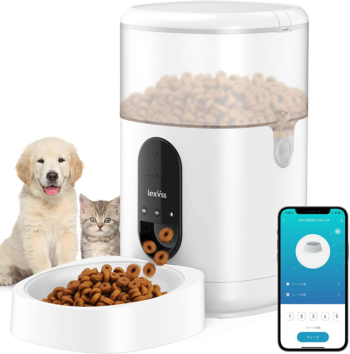 Automatic Cat Feeder, WiFi Dog Food Dispenser with Voice Recording, Programmable Portion Control Up to 8 Meals per Day, Auto Food Feeder with Desiccant for Small & Medium Pets 4L (White)