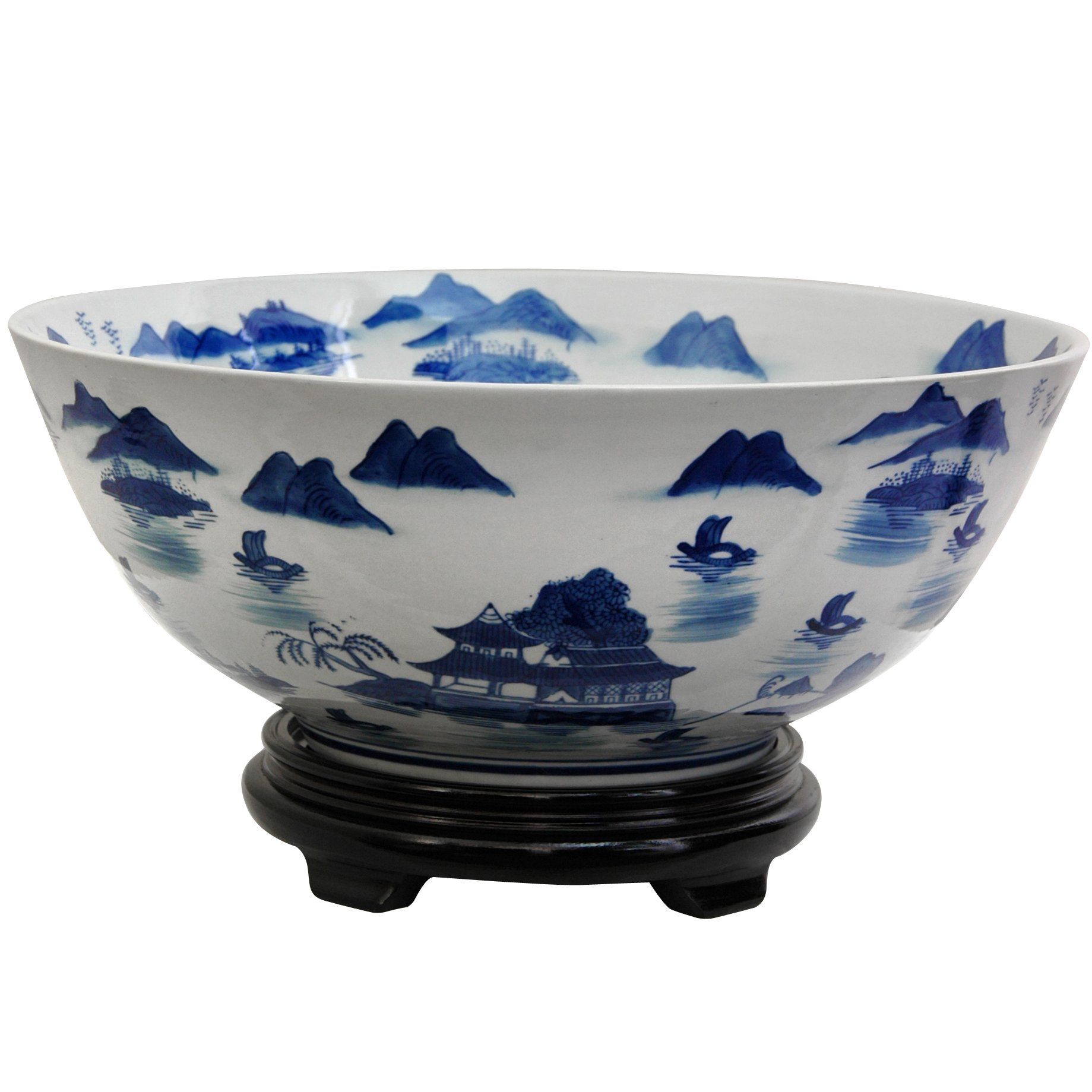 Oriental Furniture 14'' Landscape Blue & White Porcelain Bowl by ORIENTAL Furniture (Image #1)