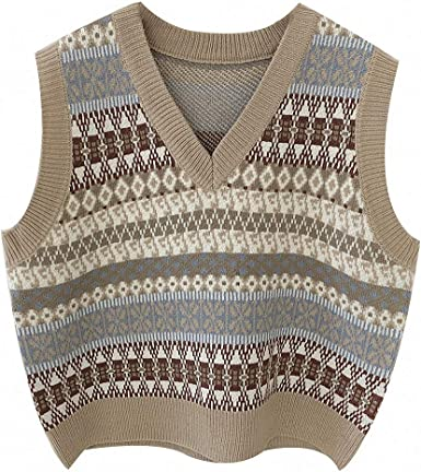Brown and blue patterned knitted sweater vest on white background