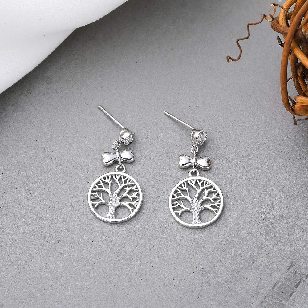 Weighing About 2.94g Baoyilong S925 Sterling Silver Bow Christmas Tree Earrings