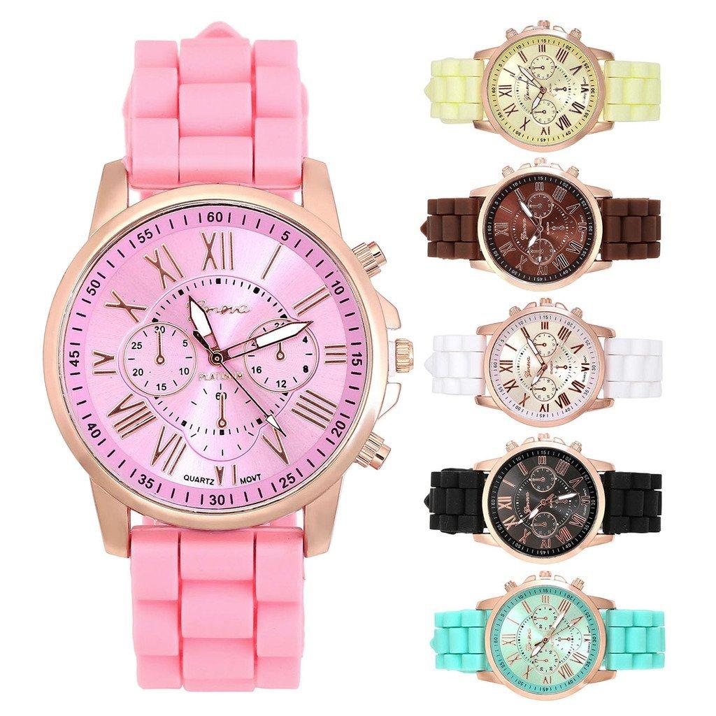 JSDDE Uhren,Genf Sport Armbanduhr Sportuhr Silikon-Quarz-Armbanduhr Bunte Silikon Armband Analog Qaurzuhr,Weiss