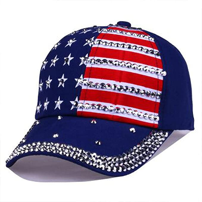 Men Women Baseball Cap USA Flag Diamond Rivet Cap Unisex Adjustable Rap Rock Hats Fashion Gorras