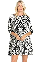 Cody Line Women's 3/4 Sleeve Print Side Pocket A-Line Comfy Tunic Dress