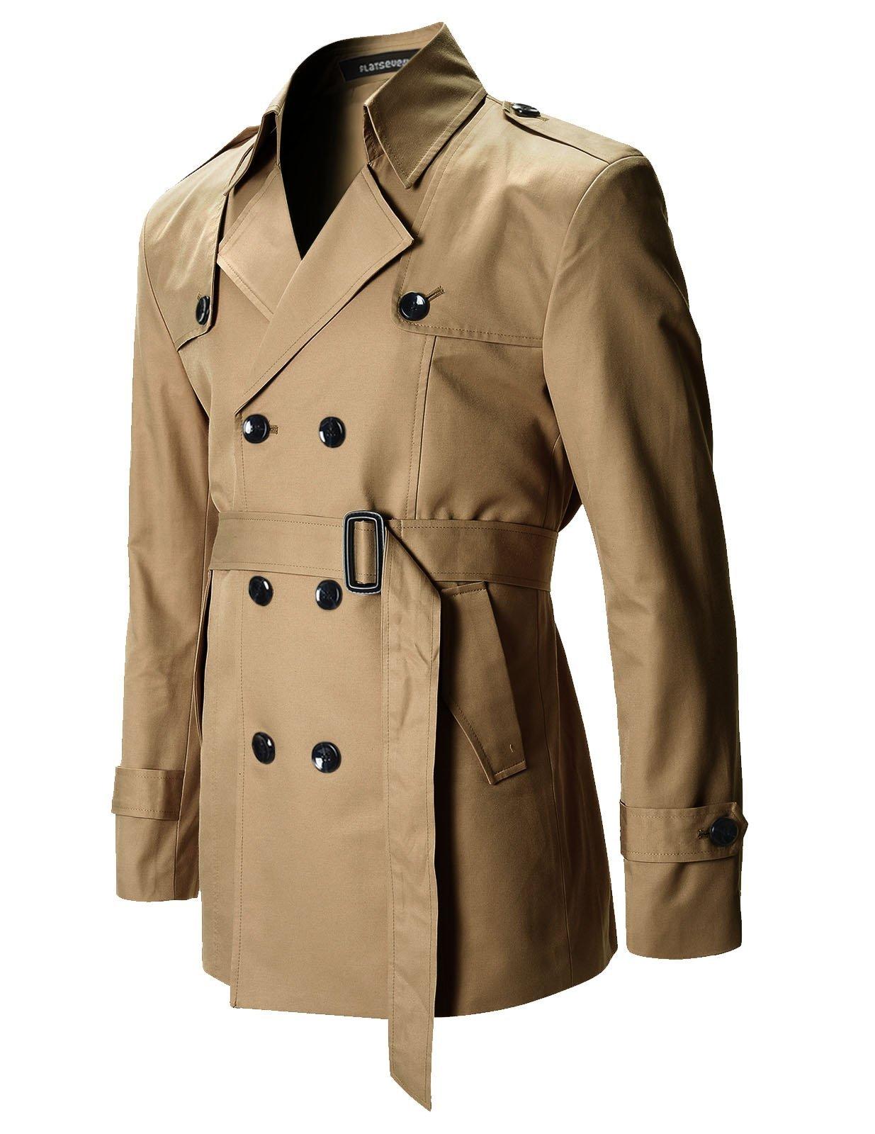 FLATSEVEN Mens Slim Fit Designer Casual Trench Coat (FCT201) Dark Beige, Size XL by FLATSEVEN (Image #2)