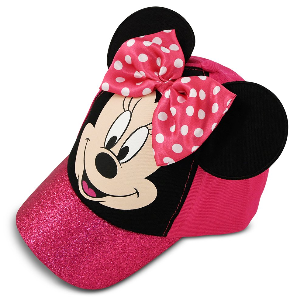 Disney Girl & 39; Minnie Mouse Butterfly Knot Tick Cotton Baseball Cap, Pink, Black, 4-7 Years Old
