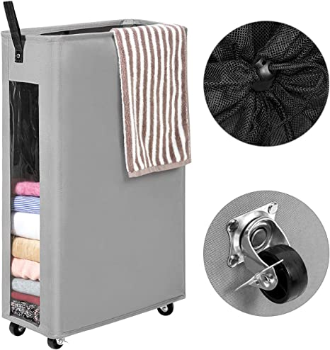 """Laundry Hamper Rolling Laundry Basket Collapsible Tall Slim 27/"""" Rolling Black"""