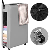 WOWLIVE 27 inches Slim Rolling Laundry Hamper with Wheels Tall Thin Laundry Basket with Clear Window Handy Collapsible Clothes Hamper Mesh Cover Rectangular StorageCorner Bin (Grey1)