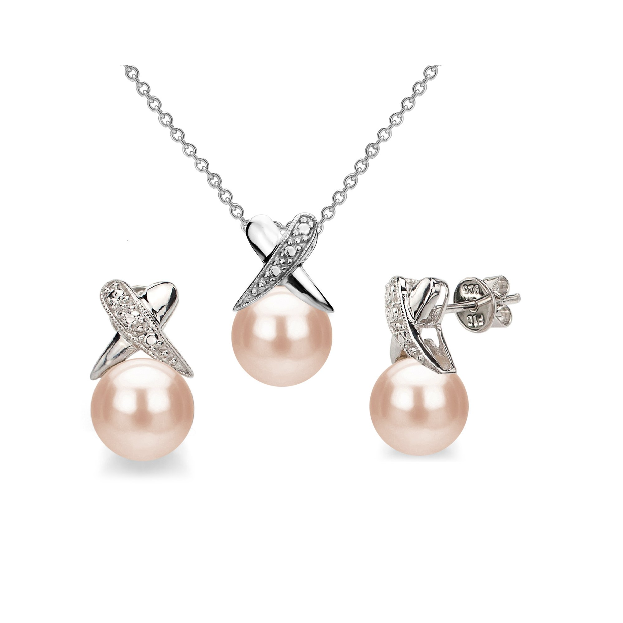 Pink Cultured Freshwater Pearl Earrings and Sterling Silver Necklace Pendant Set Anniversary Gift 8-8.5mm