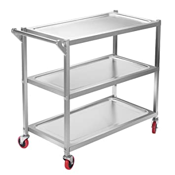 VEVOR Carrito Auxiliar 3 Bandejas con Mango Stainless Steel Utility Cart Kitchen Storage Trolley Estanterias Metalicas