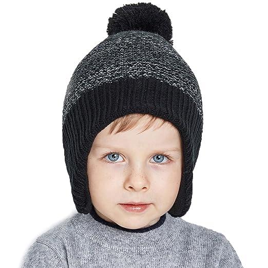 ed9bc788ad40 Amazon.com  URSFUR Kids Winter Earflap Cap Boys Knit Peruvian Hat ...
