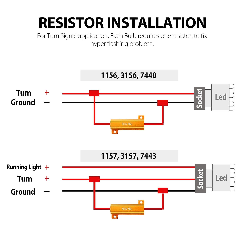 50w 6ohm Load Resistors For Led Turn Signal Lights Or 1157 Socket Wiring Diagram License Plate Fix Bulb Fast Hyper Flash Blink Error Code