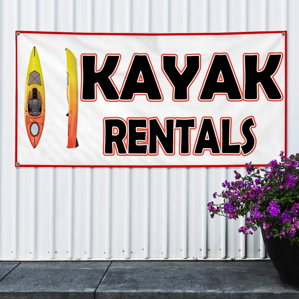 8 Grommets One Banner 48inx96in Vinyl Banner Sign Kayak Sports Kayak Sport Outdoor Marketing Advertising Blue Multiple Sizes Available