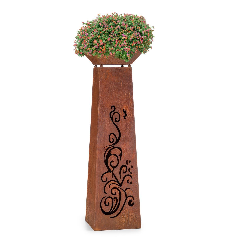 Blumfeldt Flower Tower Bac à plantes & fleurs design colonne brasero (acier, colonne de fleurs de 115 cm de hauteur, vieillissement artificiel)