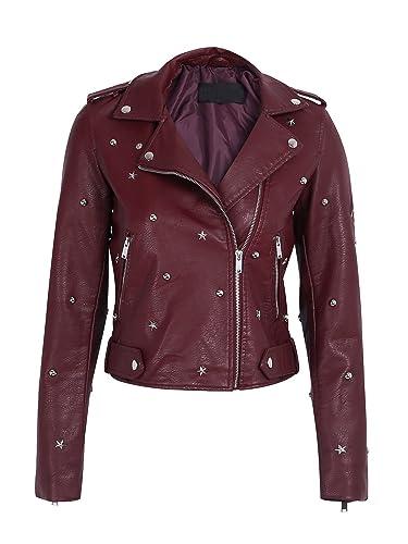 Simplee Apparel Women 's punk remache de imitacion de Cuero solapa corta biker jacket Coat