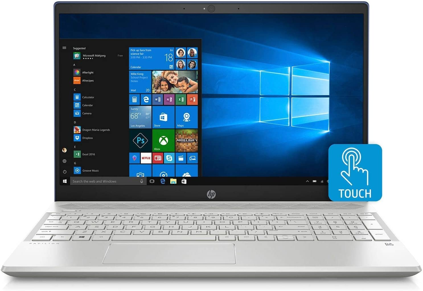 "HP Pavilion 15.6"" FHD IPS Touchscreen Premium Laptop, Intel Quad Core i7-8550U Processor up to 4.0 GHz, 16GB Memory, 512GB SSD, 500GB HDD, Backlit Keyboard, USB-C, B&O Play, WiFi, HDMI, Windows 10"