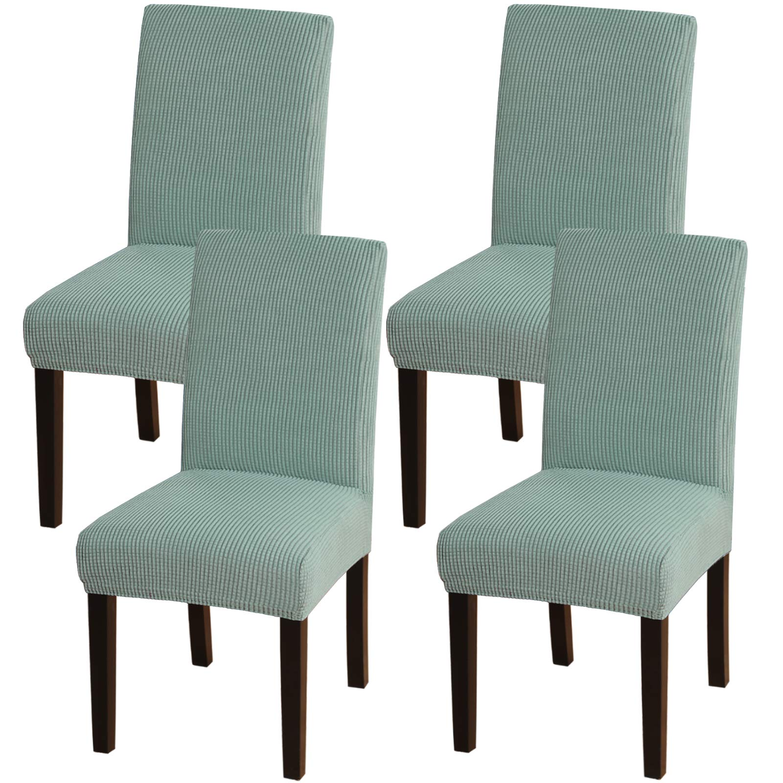 Washable Removable Parsons Chair Protector Soft Stretch Seat Slipcover Dark Gray MILARAN Velvet Chair Covers for Dining Room Set of 4
