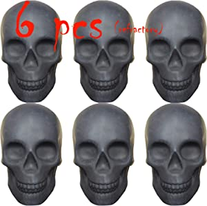 Skull Charcoal (Fireproof)(Refractory) Imitated Human Skull Gas Log for Indoor or Outdoor Fireplaces, Fire Pits Halloween Decor (6 PCS)