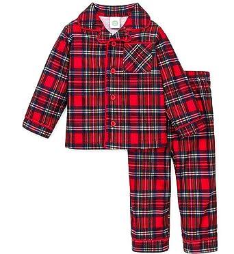 d9c2cb147 Amazon.com  Boys Christmas Pajamas Infant or Toddler Plaid Red  Clothing