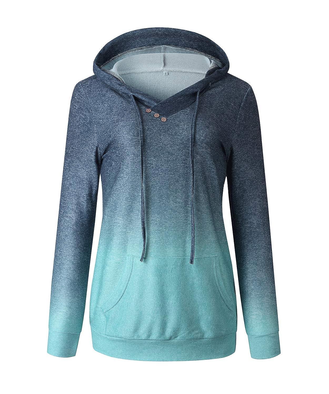 BINGBIAN Womens Hoodie Sweatshirt Long Sleeve Gradient Casual ...