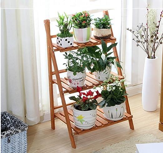 SMHJ Soporte de Flores/3 Niveles Plegable de Madera Soporte de Maceta de Flores Expositor Estante Escalera Jardín Exterior: Amazon.es: Jardín