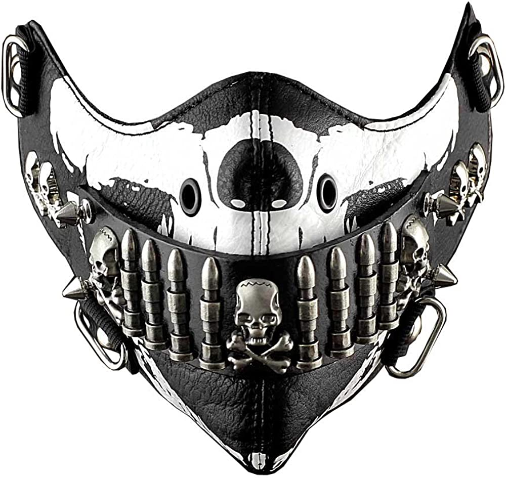 Bullet Mask Mens Punk Rock Biker Custome Hip Hop Motorcycle Black and White