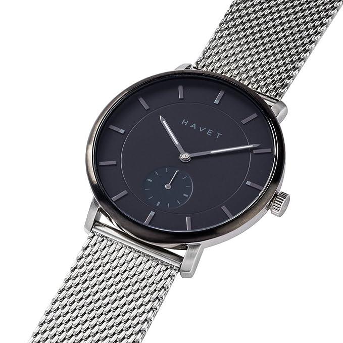 HAVET | Reloj de hombre Byron de acero esfera negra con brazalete de malla: Amazon.es: Relojes