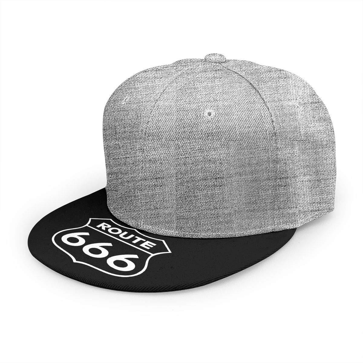 Adjustable Women Men Route 666 Print Baseball Cap Flat Brim Cap Hats Hip Hop Snapback Sun Hat Boys Girls Gray by Apolonia