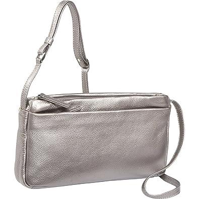 1f1ac0663357 Derek Alexander EW 3 Top Zip Shoulder Bag (Silver): Handbags: Amazon.com