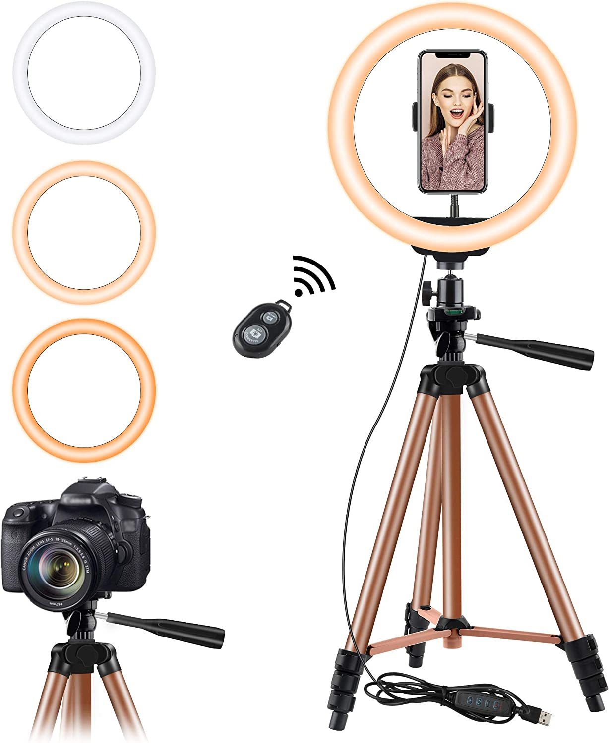 10.2'' Selfie Ring Light with Tripod Stand, Eocean 50in Tripod for YouTube Stream/Makeup, Mini Led Camera Ringlight for Vlog/Video/Photography Compatible with iPhone 11/XR/XS/8/7/6, Android (Brown)