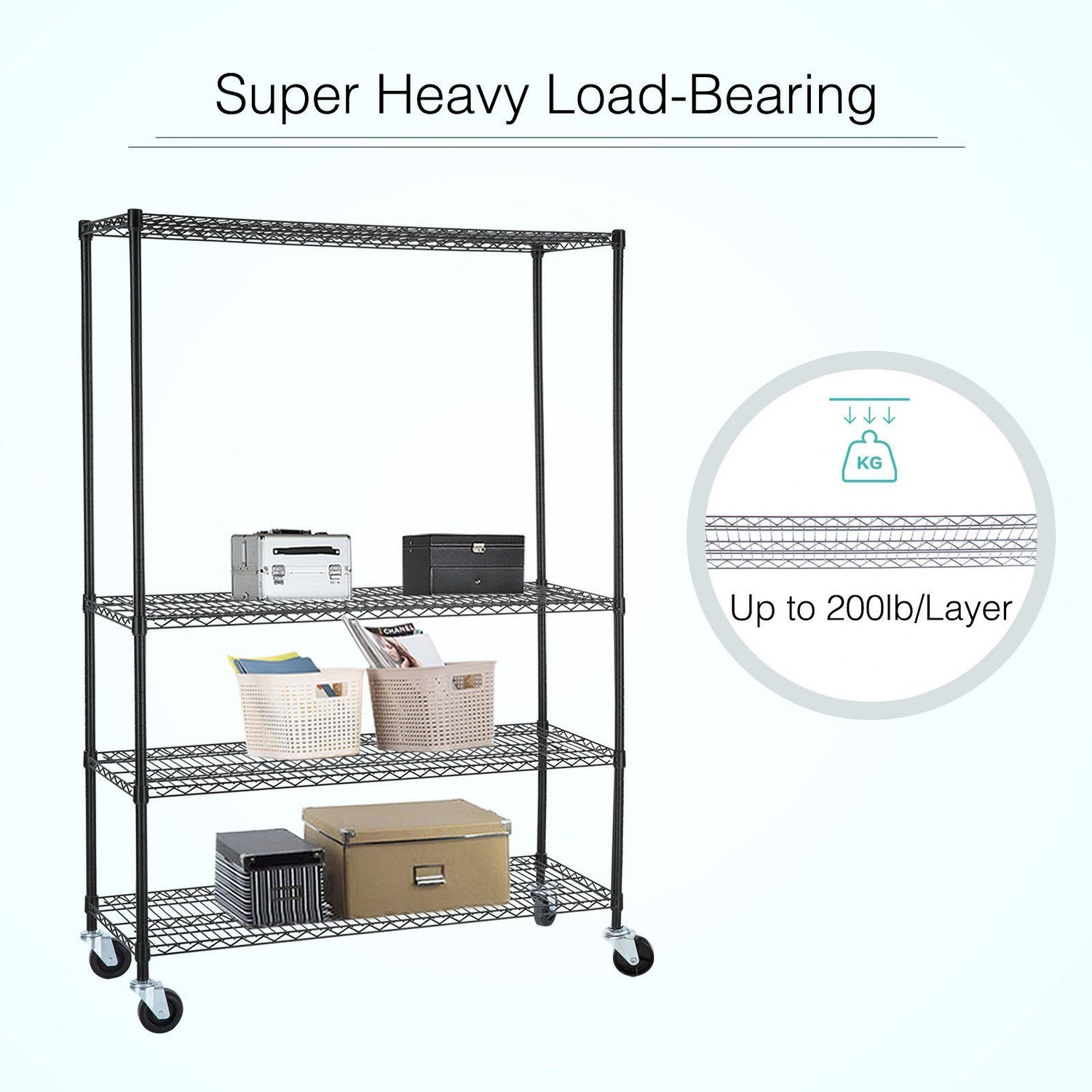Adjustable Heavy Duty 4 Tier Shelving Rack Weight Capacity 200 Lbs. Steel Wire Metal Shelf New by Okapi (Image #2)