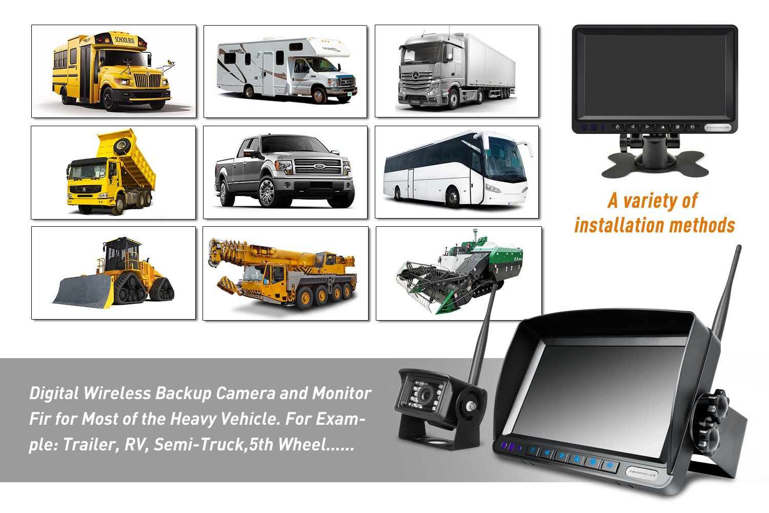 SW01 ZEROXCLUB Digital Wireless Backup Camera System for RV//Truck//Trailer//Van//Bus,No Interference,Color Night Vision,7 HD LCD Monitor,IP69 Waterproof Security Rear View Camera,Guide Lines On//Off