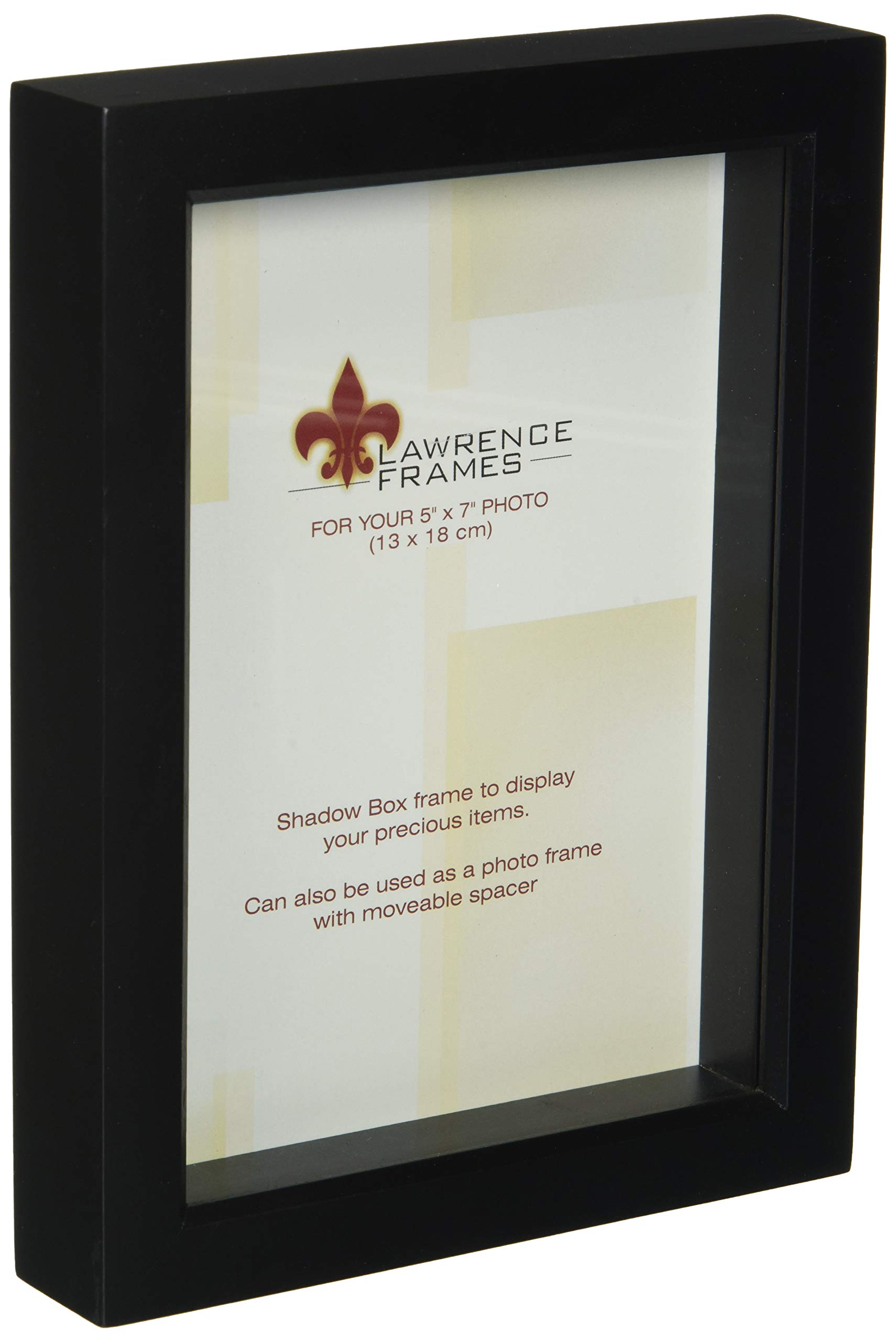 Lawrence Frames 795057 Black Wood Treasure Box Shadow Box Picture Frame, 5 by 7-Inch by Lawrence Frames